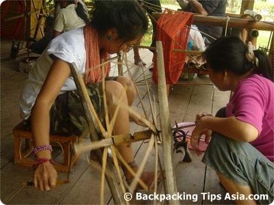 Spinning silk in Luang Prabang, Laos