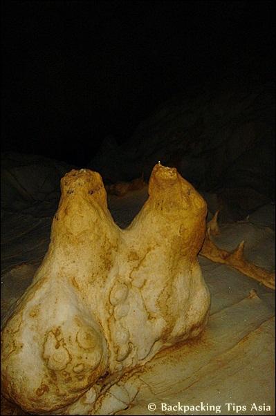Stalagmites at Tham Loup cave in Vang VIeng