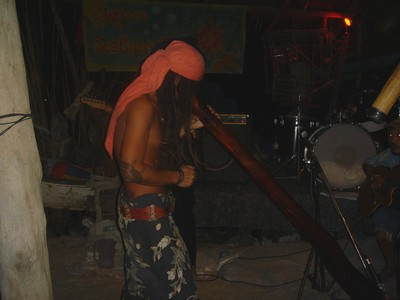 Local guy testing the didgeridoo at Sunflower Bar in Ko Phi Phi