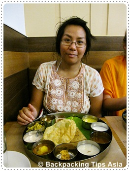 eating south indian food at Azad restaurant in Trivandrum in Kerala state