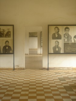 The hall at S-21 Genocide museum in Phnom Penh