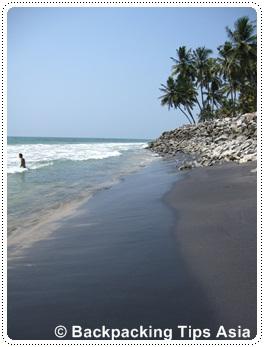 Beautiful Black Beach in Varkala, India