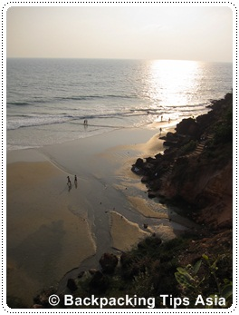 View of North Cliff beach in Varkala
